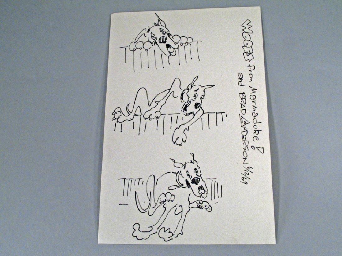 Marmaduke Brad Anderson Autograph Hand Drawn Comic