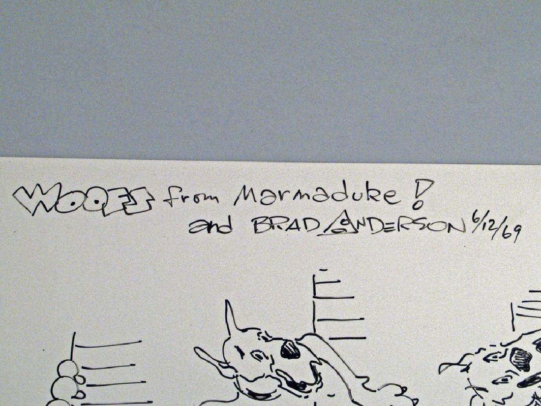 Marmaduke Brad Anderson Autograph Hand Drawn Comic - 2