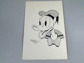 Cartoonist Terry Austin Donald Duck & Autograph