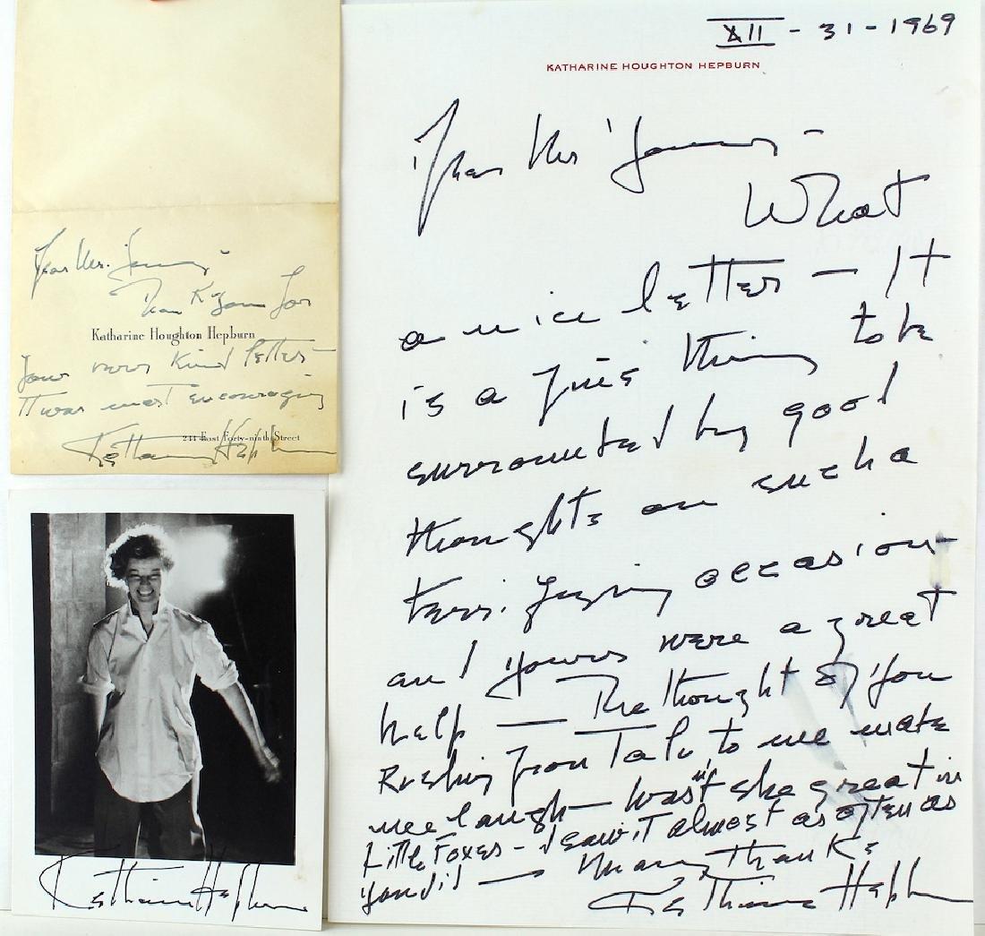 Katherine Hepburn Letter & Photo 3 Signatures