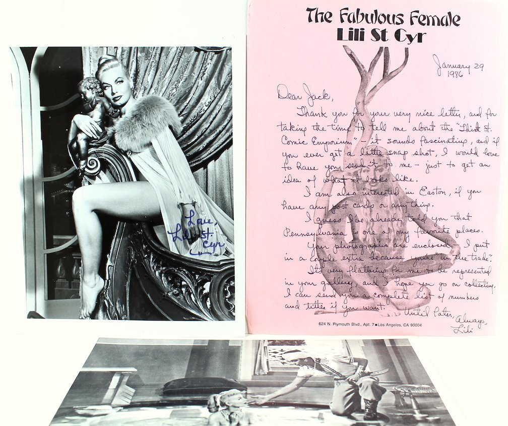 Lili St. Cyr Lobby Card, Photo, & Letter All Signed