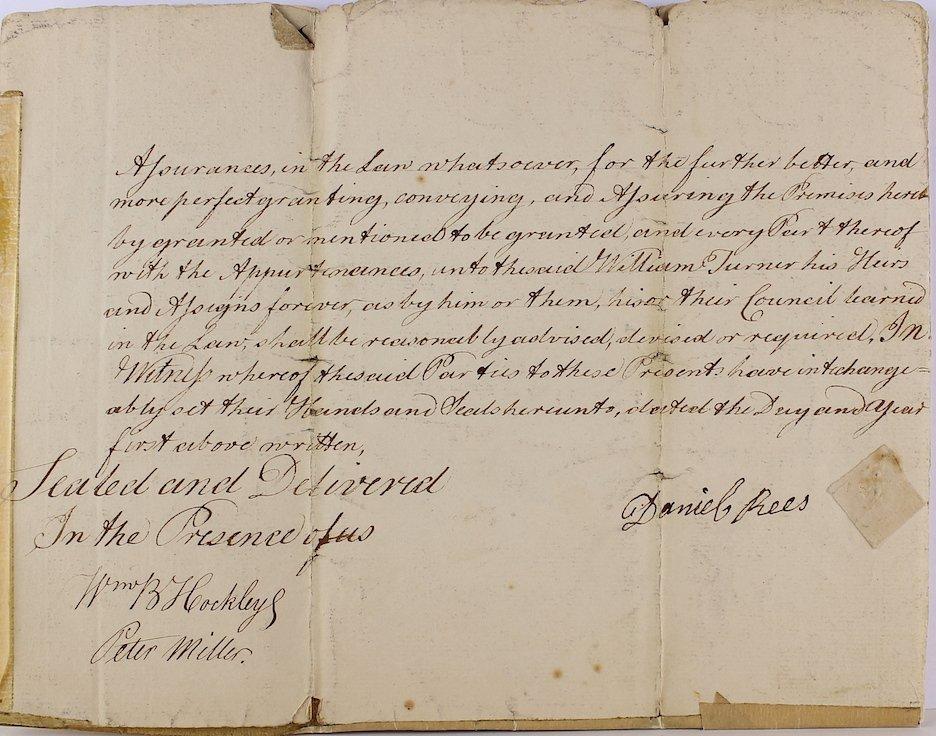 1783 Daniel Rees, Thomas Kean, Peter Miller Signatures