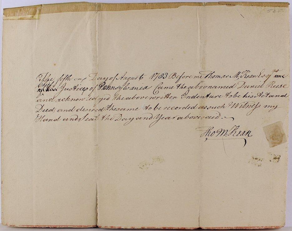 1783 Daniel Rees, Thomas Kean, Peter Miller Signatures - 2