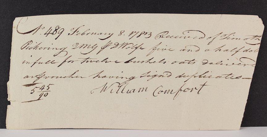 1783 Timothy Pickering Reciept for 12 Bushels of Oats