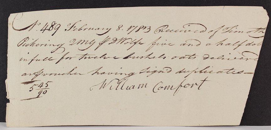 1783 Timothy Pickering Reciept for 12 Bushels of Oats - 3