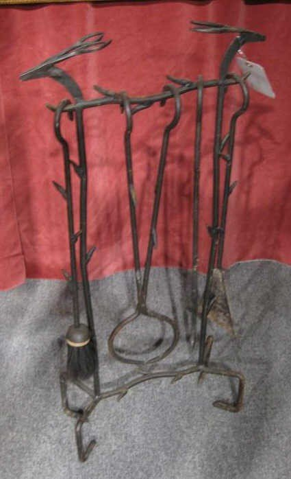 8A: AMERICAN HAND-FORGED IRON FIREPLACE TOOLS & STAND