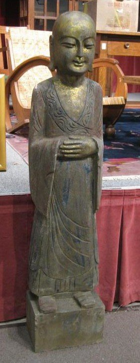 14A: LARGE PAIR OF SCULPTED STONE BUDDHIST FIGURES