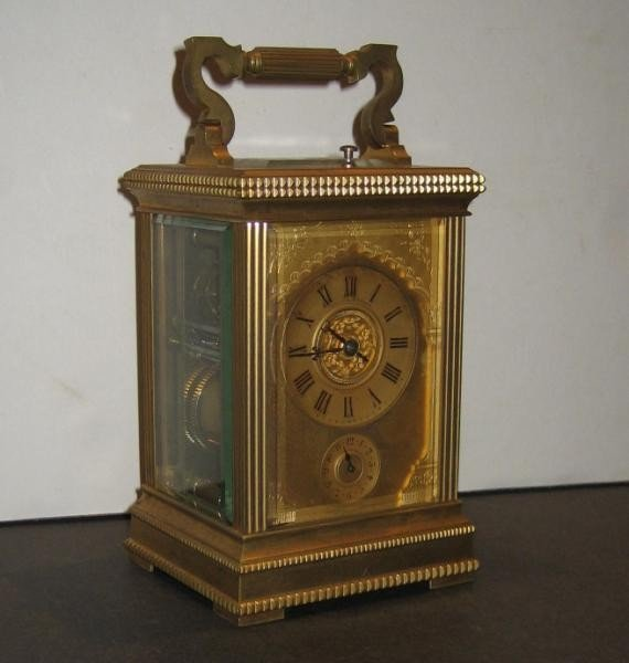 205: FRENCH 19TH CENTURY BRASS & GLASS CARRIAGE CLOCK