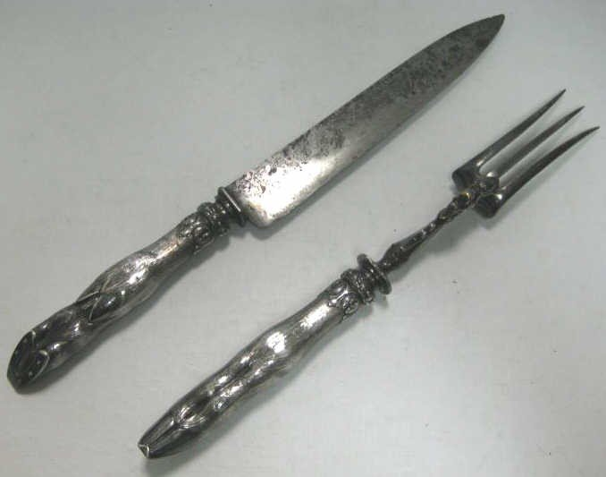 317A: TWO-PIECE FRENCH SILVER CARVING SET