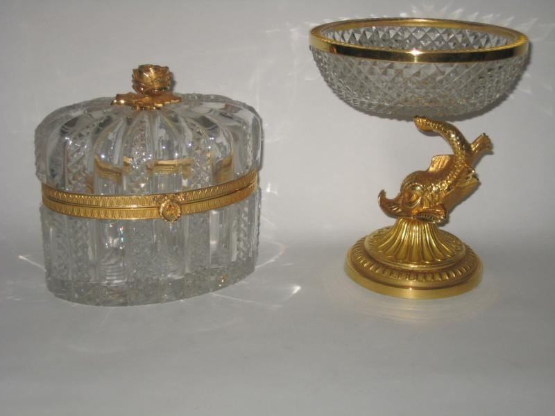 322: TWO PIECES OF FRENCH ORMOLU MOUNTED CUT GLASS
