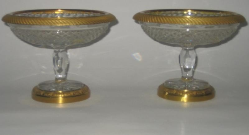 324: PAIR FRENCH CUT GLASS AND GILT METAL COMPOTES