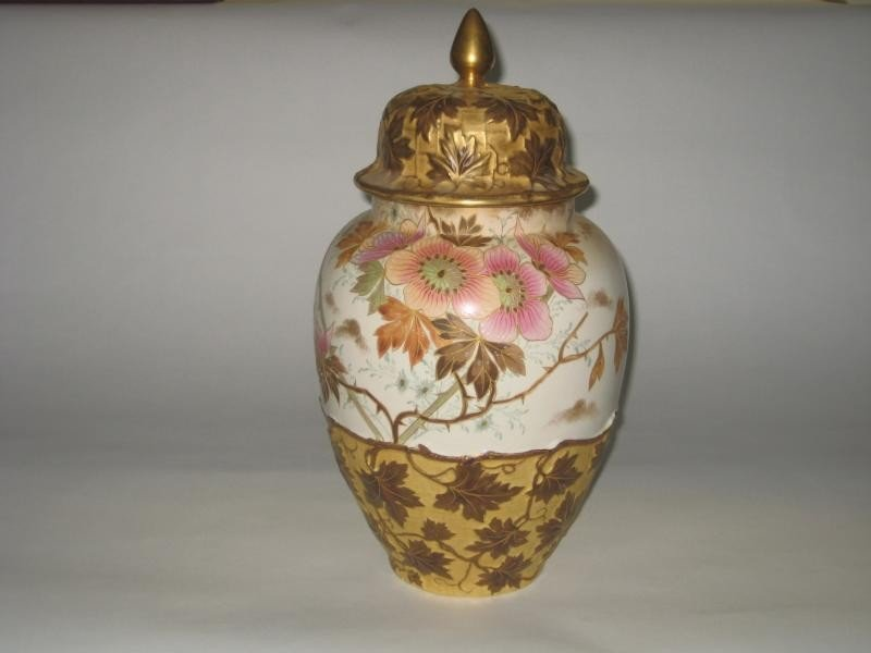 350: ROYAL BONN POTTERY URN AND COVER