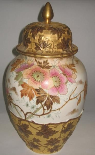 350: ROYAL BONN POTTERY URN AND COVER - 2
