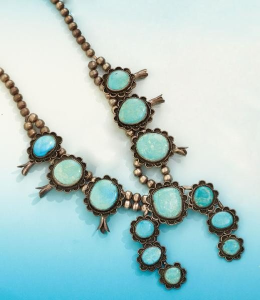 646: TURQUOISE SQUASH BLOSSOM NECKLACE