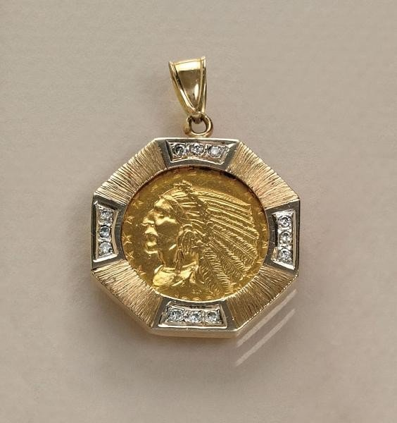 651: GOLD COIN AND DIAMOND PENDANT
