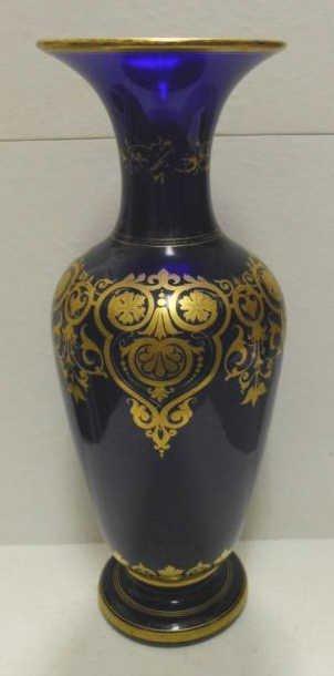 312: BOHEMIAN COBALT BLUE GLASS VASE