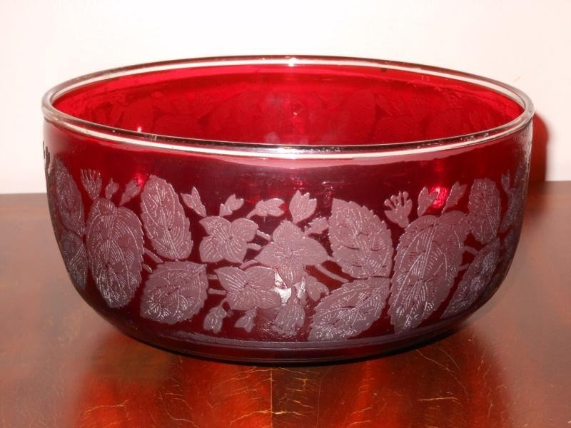 316: ANTIQUE CRANBERRY GLASS BOWL