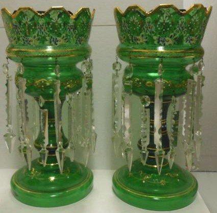 318: PAIR OF BOHEMIAN GREEN GLASS LUSTRES
