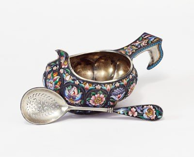 326: RUSSIAN SILVER AND ENAMEL KOVSH AND SIFTING LADLE