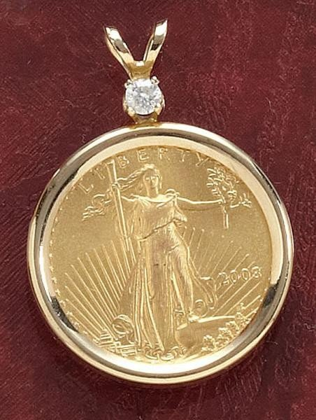 830: GOLD COIN PENDANTS (2)