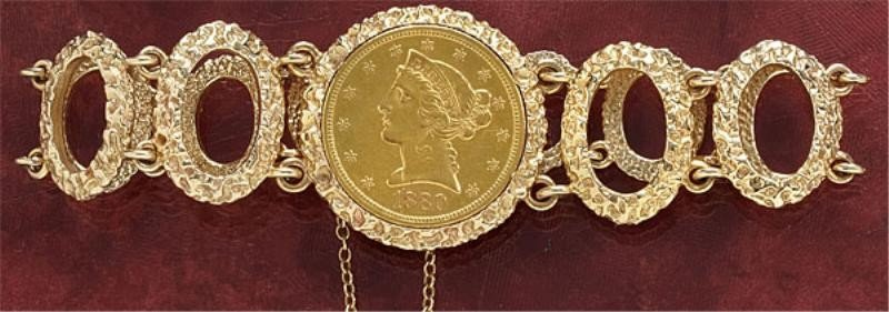 831: GOLD COIN BRACELET