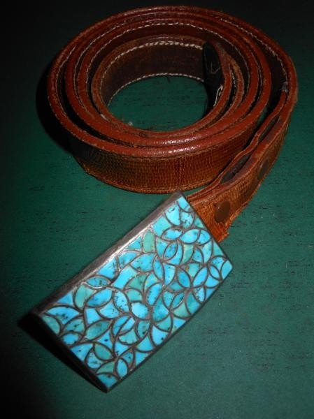 4007: TURQUOISE AND STERLING SILVER BUCKLE