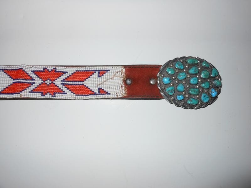 4017: TURQUOISE AND SILVER BELT BUCKLE
