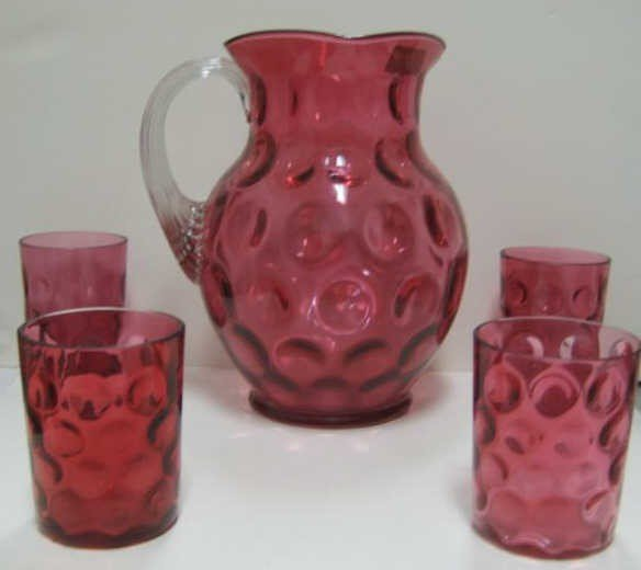 15: VICTORIAN CRANBERRY GLASS WATER SET