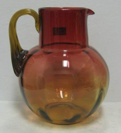 17: VICTORIAN NEW ENGLAND AMBERINA GLASS PITCHER