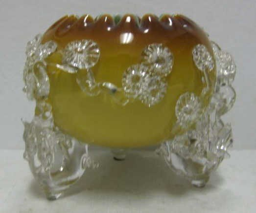 21: FINE YELLOW TO AMBER CASED GLASS BOWL