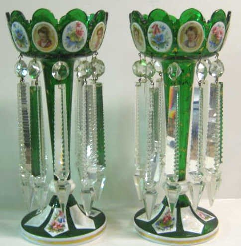 368: PAIR OF BOHEMIAN OVERLAY GLASS LUSTRES