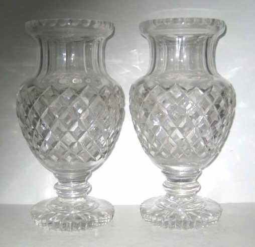 370: PAIR OF LEADED GLASS VASES