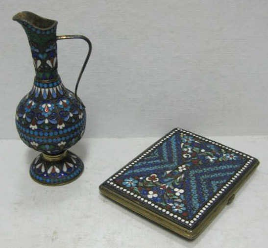 386: TWO PIECES OF RUSSIAN ENAMEL ON SILVER