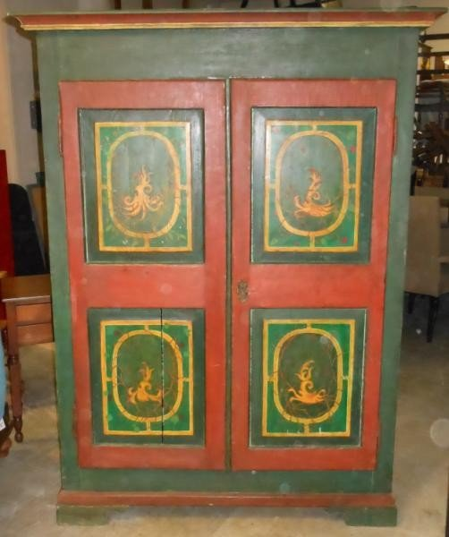 460: ANTIQUE CONTINENTAL PAINTED TWO DOOR ARMOIRE