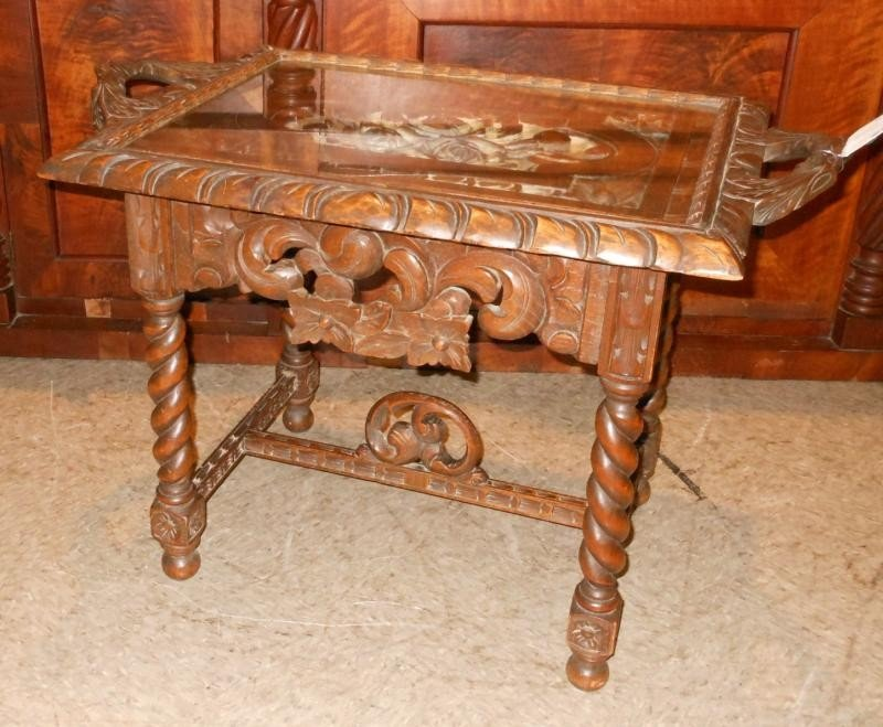 461: ANTIQUE CONTINENTAL CARVED OAK TRAY TOP TABLE