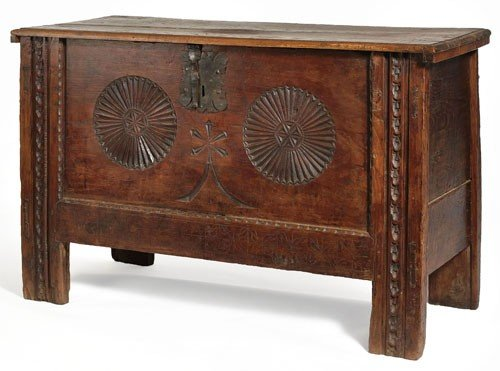 466: LARGE CONTINENTAL CARVED OAK STORAGE TRUNK
