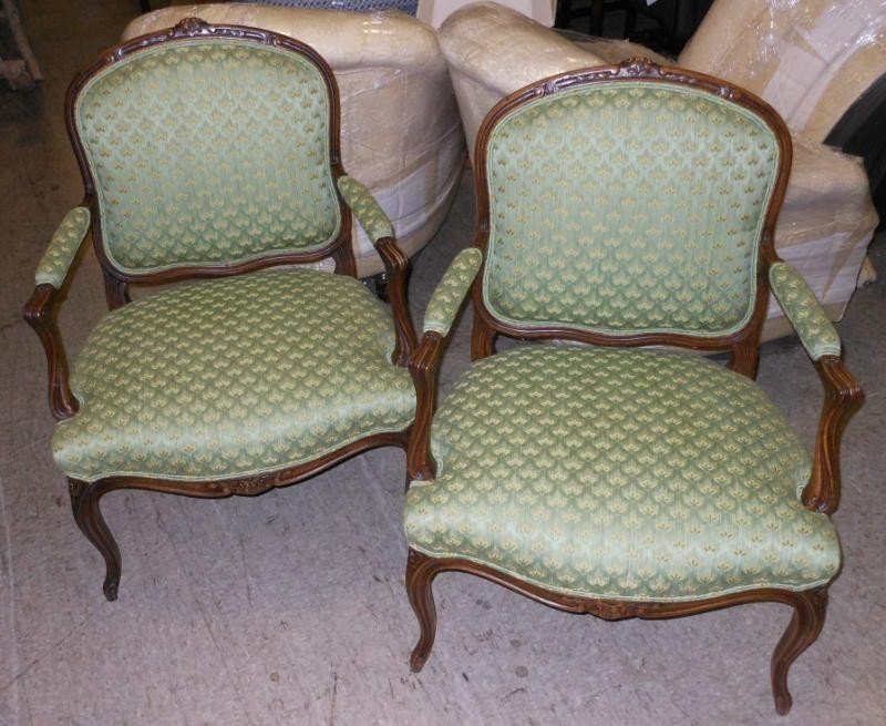 471: PAIR FRENCH PROVINCIAL STYLE FAUTEUILS
