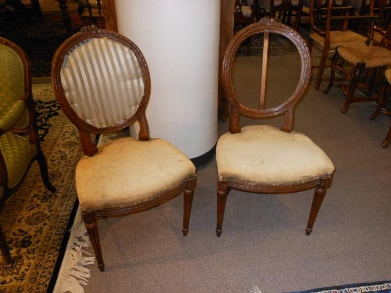 473: PAIR OF ANTIQUE LOUIS XVI STYLE SIDE CHAIRS