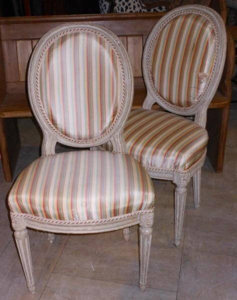 475: SET OF SIX ANTIQUE LOUIS XVI STYLE SIDE CHAIRS