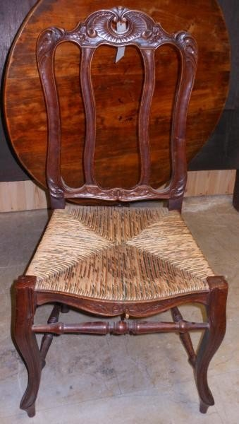 477: TEN FRENCH PROVINCIAL STYLE OAK DINING CHAIRS