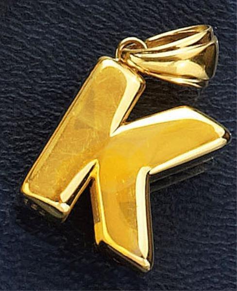 """760: GOLD INITIAL """"K"""" PENDANT"""