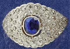 967: VICTORIAN SAPPHIRE AND DIAMOND RING