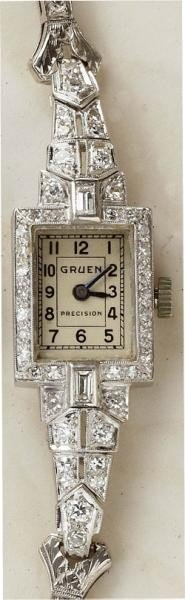 1211: ART DECO DIAMOND WATCH GRUEN