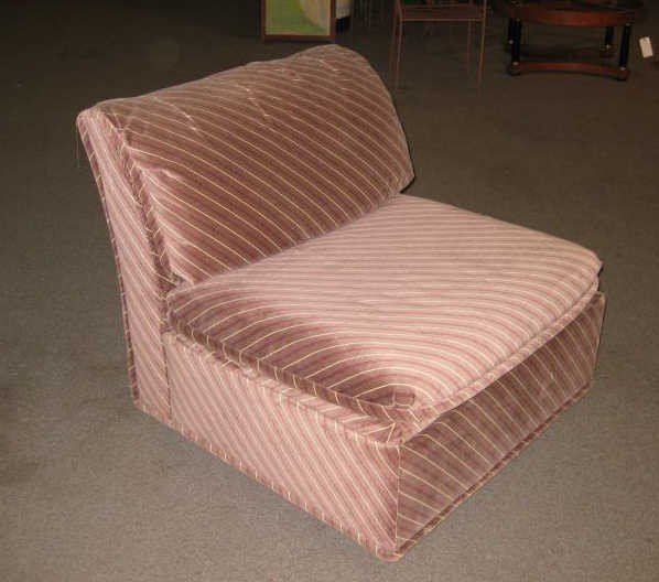 1: MAUVE AND STRIPE UPHOLSTERED LOUNGE CHAIR
