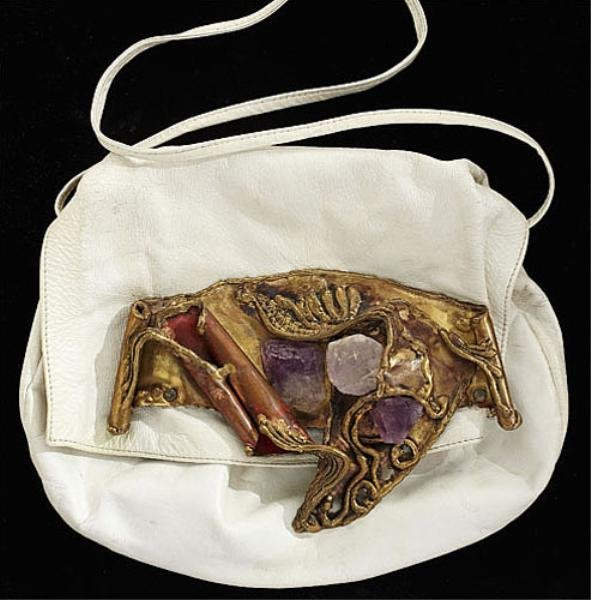 3: Handcrafted White Leather Handbag, Brazil