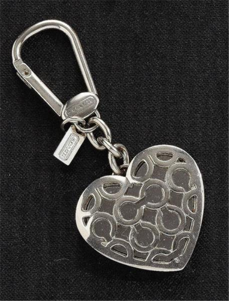 "9: ""C"" Logo Heart Key Pendant, Coach"