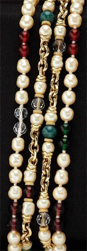 16: Vintage faux pearl and gemstone long chain