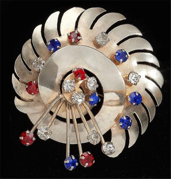 24: Sterling brooch with red, white and blue