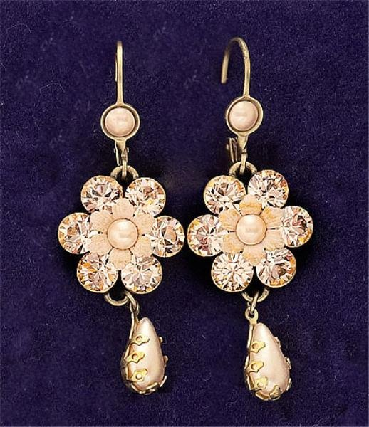 28: Pink Color Dangling Earrings Michael Negrin
