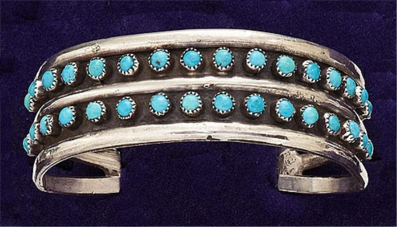 42: Silver and Turquoise Cuff